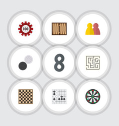 Flat icon entertainment set of gomoku chequer vector