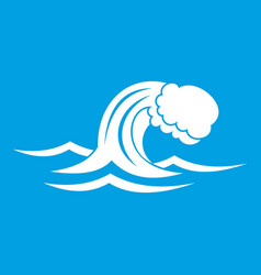 Foamy wave icon white vector