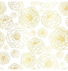 Golden on white peony flowers summer vector
