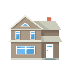 icon of three storey house of grey color with door vector image