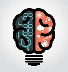 Idea bulb left brain right brain vector image