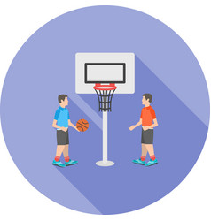 Kids playing basketball vector