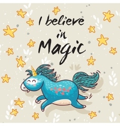 Magic card with cute unicorn cartoon vector