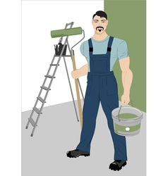painter with a roller vector image