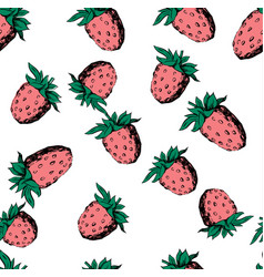 Raspberry seamless pattern on white vector