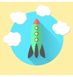 Rocket and clouds run a business concept vector