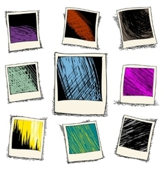 Set of retro photo frame in doodle style vector image