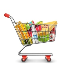 Shopping supermarket cart with grocery pictogram vector