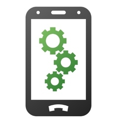 Smartphone gears gradient icon vector