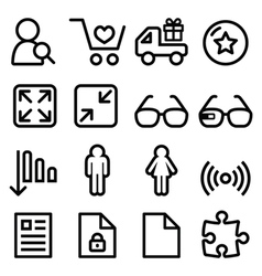 Web menu navigation line icons set - shopping vector image vector image