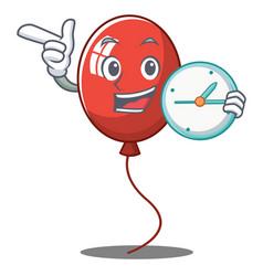 With clock balloon character cartoon style vector