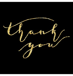 Thank you type on golden glitter sparkles vector