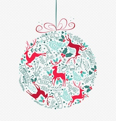 Merry christmas retro bauble ornament decoration vector