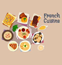 French cuisine festive dinner dishes icon design vector