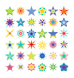 Kaleidoscope crazy multicolor star set vector