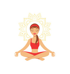 young woman practising yoga in lotus position vector image