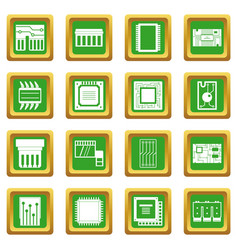 Computer chips icons set green vector
