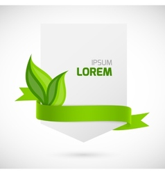 Banner with green ribbon and leaves vector