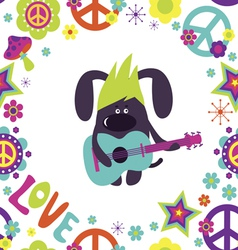 Card with cute dog guitarist vector