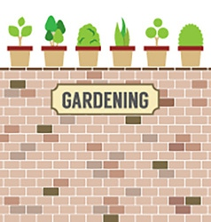 Pot plants on brick wall gardening concept vector