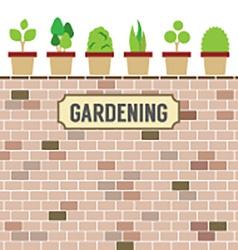 Pot plants on brick wall gardening concept vector