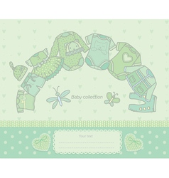 Baby collection green vector image