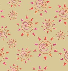 Cartoon sun seamless pattern circle symbol vector