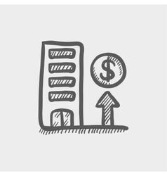 Expensive building sketch icon vector