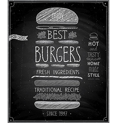 Best burgers poster - chalkboard style vector