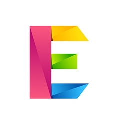 E letter one line colorful logo design template vector
