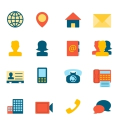 Contact icons flat vector