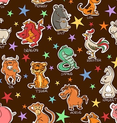 Funny seamless pattern of chinese zodiac animals vector