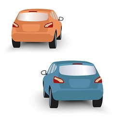 Back of hatchback cars orange and blue in on white vector