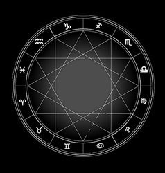 Zodiac wheel monochrome horoscope chart vector