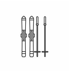Skis and ski poles icon outline style vector