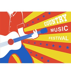 Country music poster with man musician and guitar vector