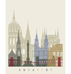 Budapest skyline poster vector image vector image