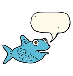 Cartoon happy fish with speech bubble vector