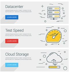 Datacenter Test Speed Cloud Storage Line Art Flat vector image