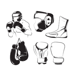 Elements for vintage boxing emblems labels vector
