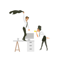Flat office workers at party set vector