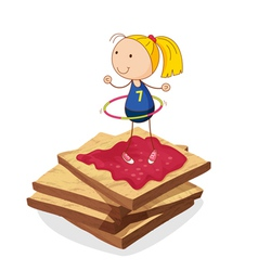 girl and bread vector image vector image