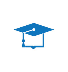 graduation books hat logo design vector image