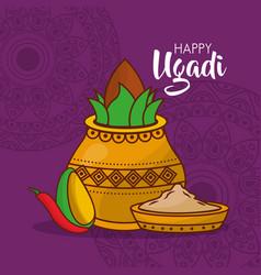 Happy ugadi poster indian fest celebration vector