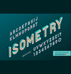 Isometric alphabet 3d letters and numbers vector