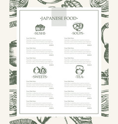 japanese food - vintage hand drawn template menu vector image vector image