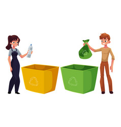 Man woman putting garbage into trash bin waste vector