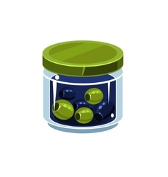Mixed olives in transparent jar vector