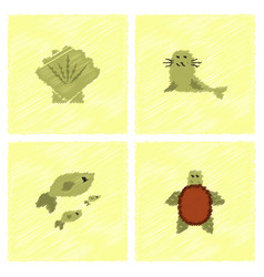 Sea animals stock collection in hatching style vector