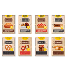 Set of bakery posters vector